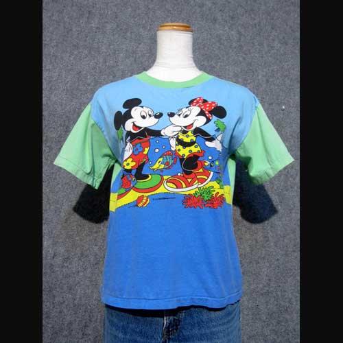 レディース古着 ミッキー×ミニー切り替えTシャツ・Disney