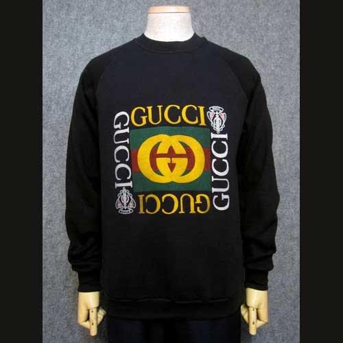 size 40 800a4 259df 古着 80年代グッチGUCCIスウェット黒・オールドスクール - 古着 通販 メンズ・レディースの古着屋Chum