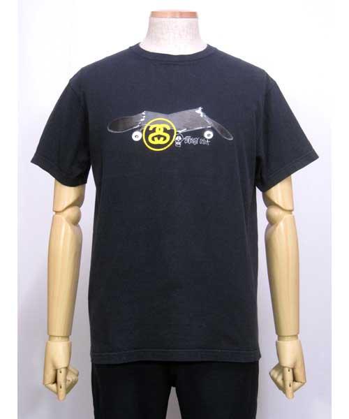 STUSSYスカル×スケボー黒プリントTシャツL USA製90's