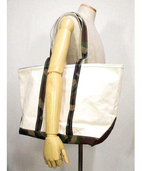 新品LLビーン生成り×カモ柄キャンバストートバッグ ジップ付き アメリカ製 ラージサイズ