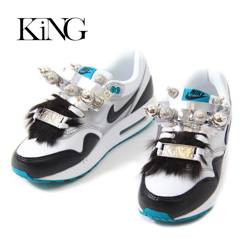 KiNG(キング)/CUSTUM SNEAKER AIR MAX90 -WHITE×BLACK SILVER×MIRROR×FUR-
