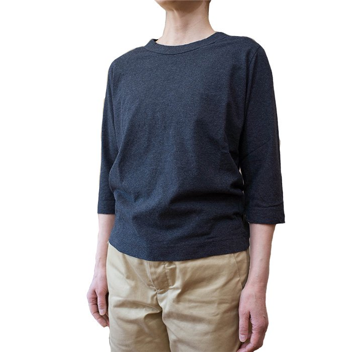 Homspun  天竺七分袖Tシャツ  #トップダークチャコール