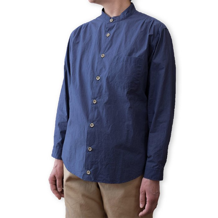 ippei takei [イッペイタケイ]band collar shirts#blue