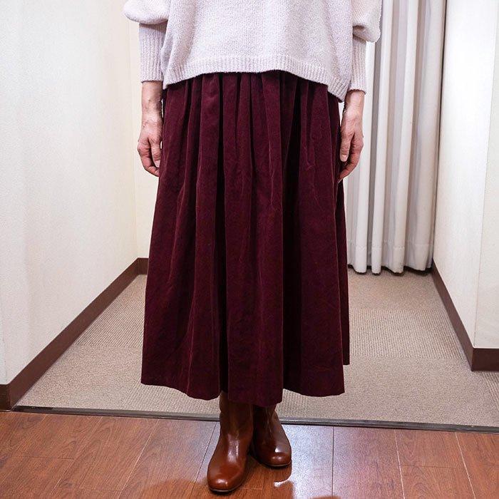 Homspunシャツコールギャザースカート#ワイン