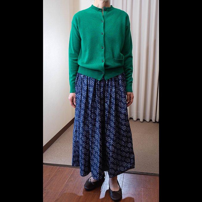homspun タックフリルポケット ギャザースカート #アイアンブルー