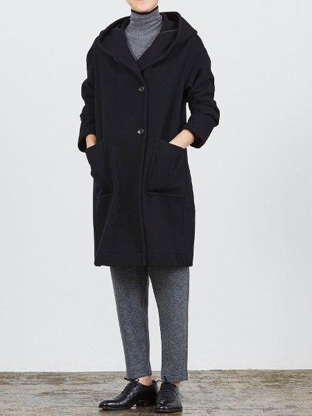 Nico.  MY SWEET COAT フードメルトンコート #ブラック