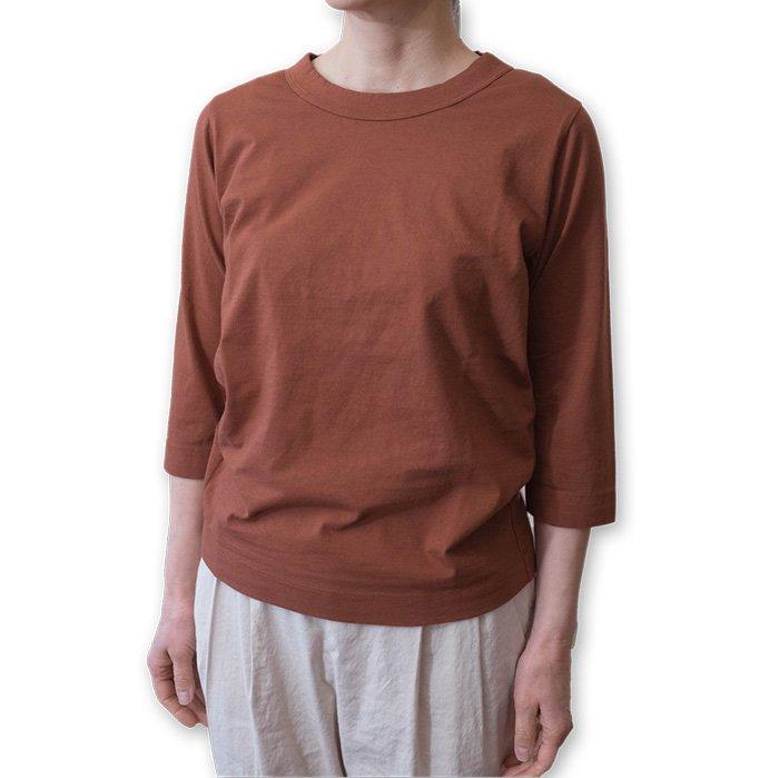 Homspun 天竺七分袖Tシャツ #ブラウン