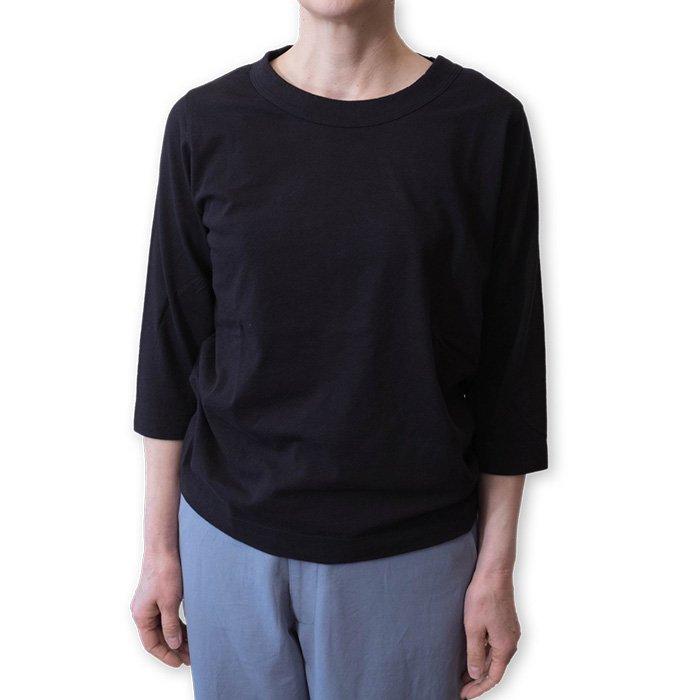 Homspun 天竺七分袖Tシャツ #ブラック