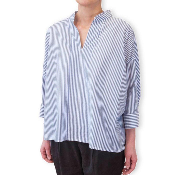 SIWALY | シワリー ショートプルオーバーシャツ (520106) #NVストライプ