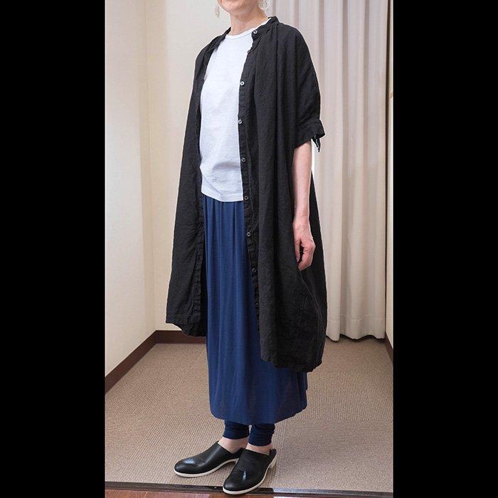 Honnete[オネット]アイリッシュリネンノーカラー半袖ワンピース#BLACK