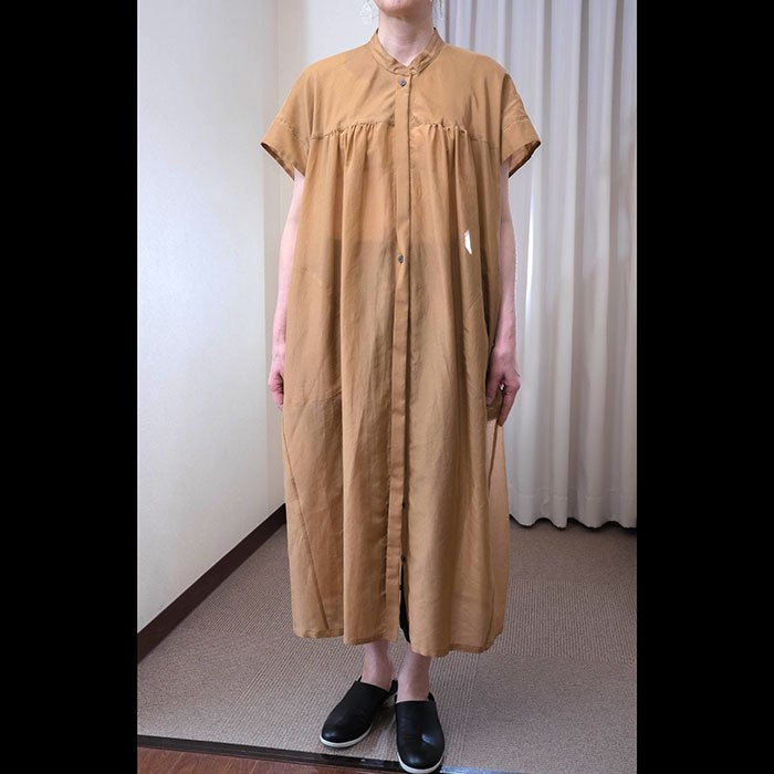 KOFTA [コフタ] コットンシルクボイルシャツワンピース#カカオ