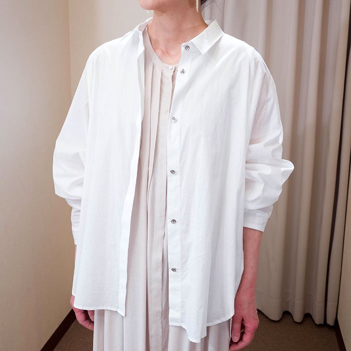 SIWALY | シワリー バックギャザーワイドシャツ #ホワイト