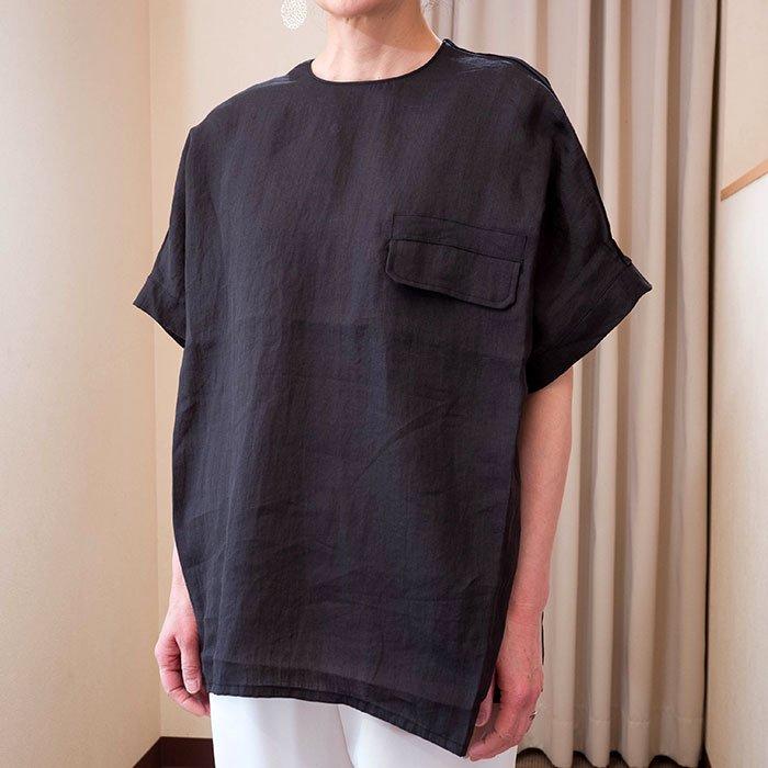 KOFTA [コフタ] リネン/ジャージPOポケット付き半袖ブラウス   #ブラック
