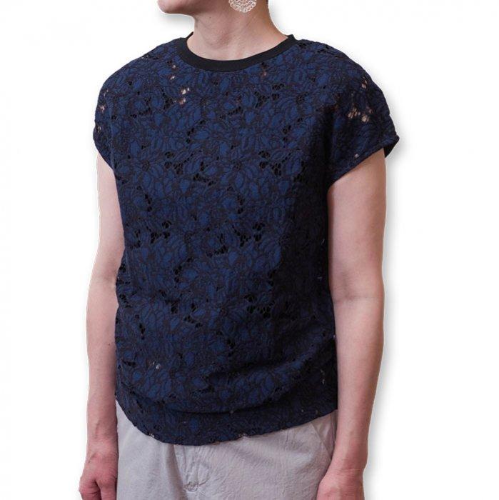 Le pivot / ル・ピボット  レースF/SクルーTシャツ    #ネイビー