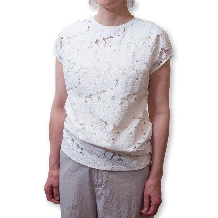 Le pivot / ル・ピボット  レースF/SクルーTシャツ    #ホワイト
