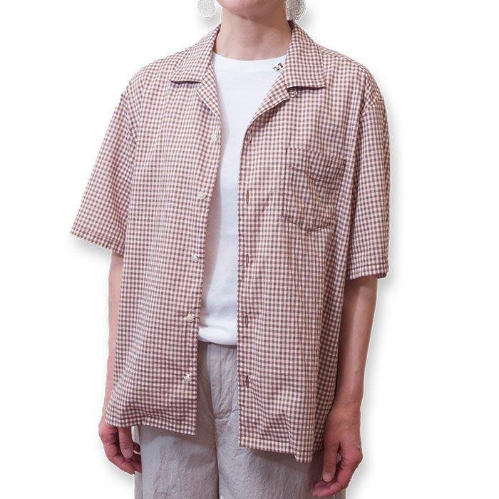 Homspun ギンガムチェックオープンカラーシャツ  #ブラウン