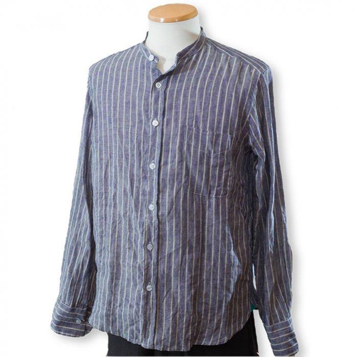 James Mortimer [ジェームスモルティマー]アイリッシュリネンバンドカラーシャツ#オートミール/ストライプ