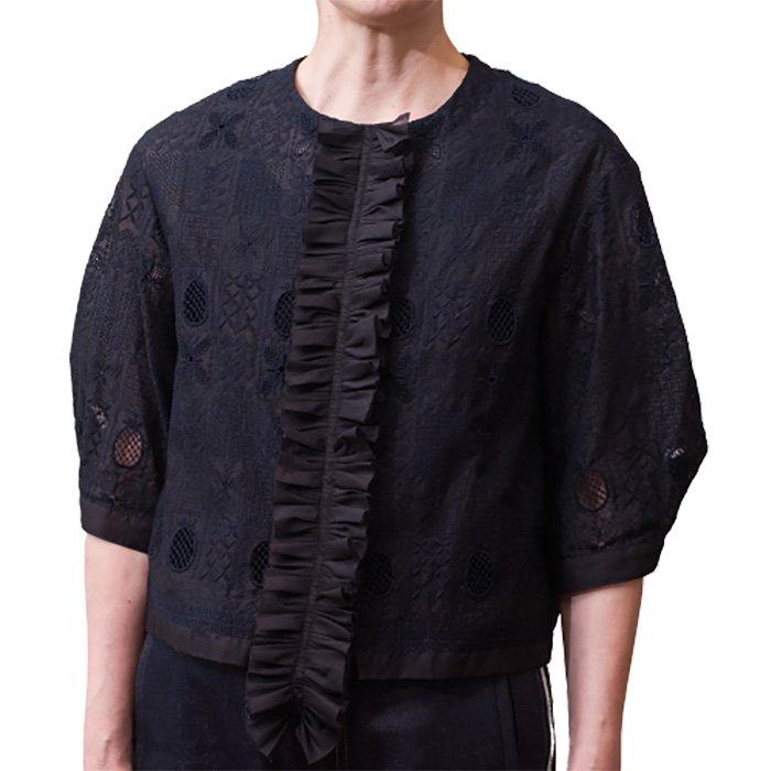 アンティパスト 刺繍ジャケットブラウス #ブラック/ネイビー