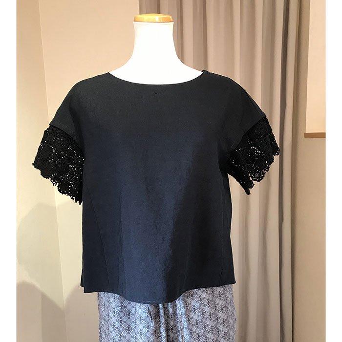 アンティパスト 刺繍コンビリネンブラウス #ブラック