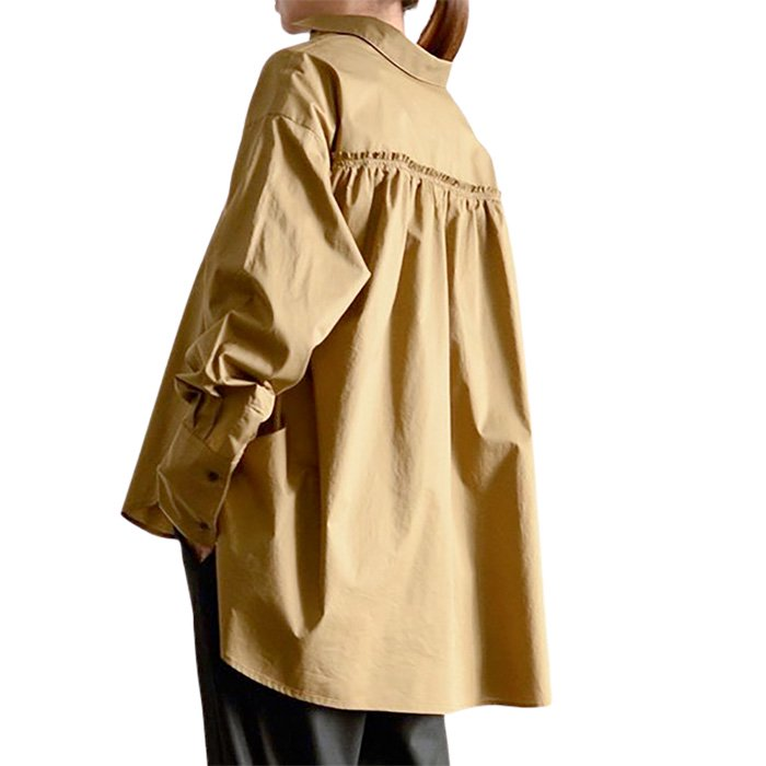 SIWALY | シワリー バックギャザードレスシャツ camel