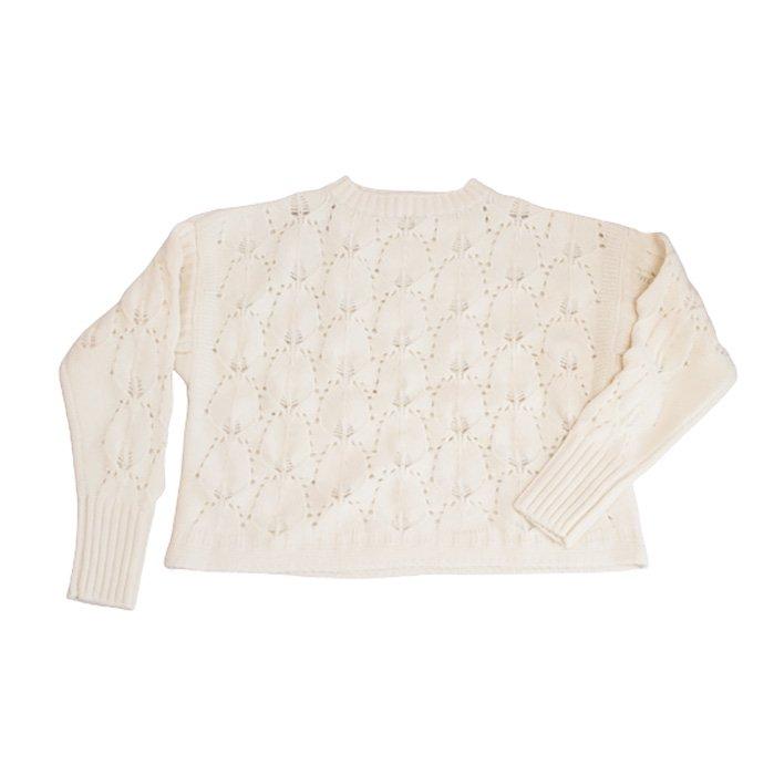 STASTNY SU [シュチャストニースー]ピーコックフェザーガンジーセーター#ホワイト