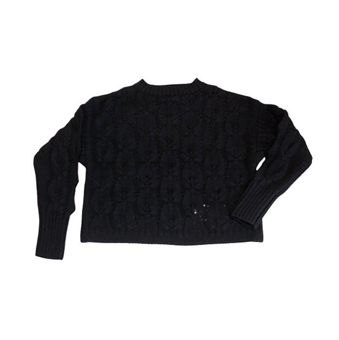 STASTNY SU [シュチャストニースー]ピーコックフェザーガンジーセーター#ブラック
