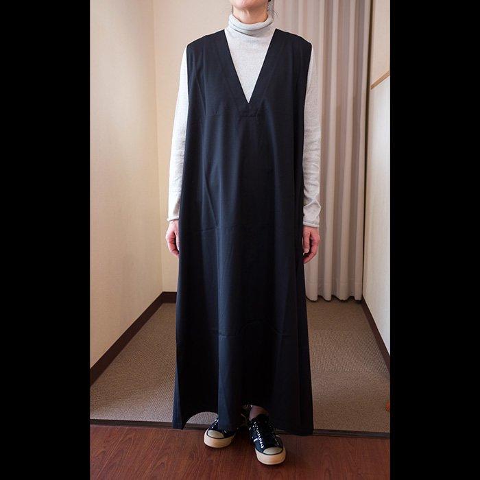 Honnete  サージスリーブレスVワイドドレス#ブラック