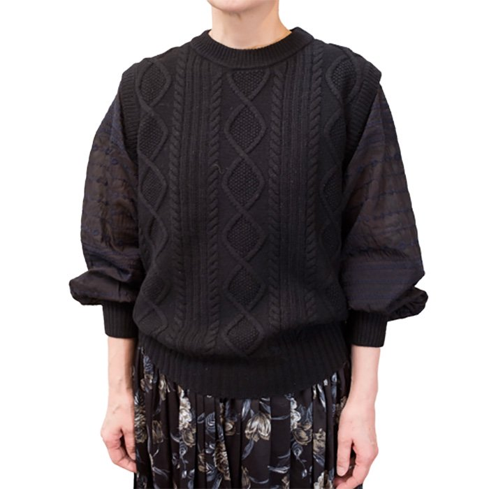 アンティパスト刺繍袖 / ウールニットプルオーバー #ブラック