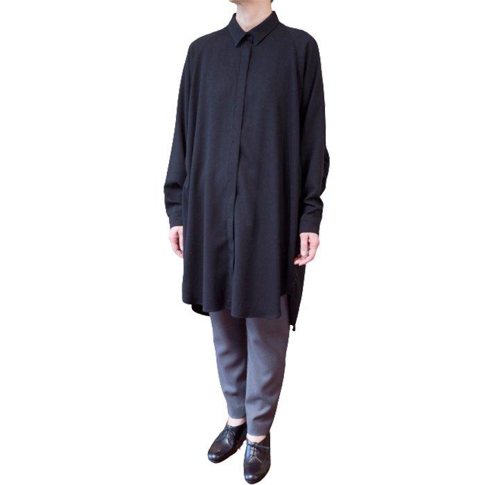 SIWALY | シワリー バックギャザーロングシャツ #ブラック