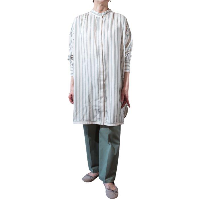 ara・ara [アラアラ]  タックロングシャツ  #ストライプグリーン