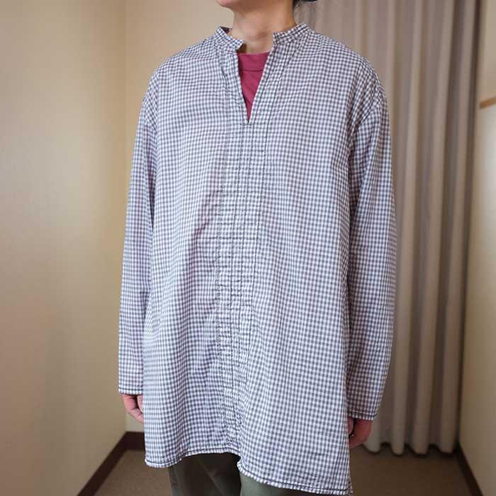 Homspun  ギンガム スタンドカラープルオーバーシャツ  #グレー