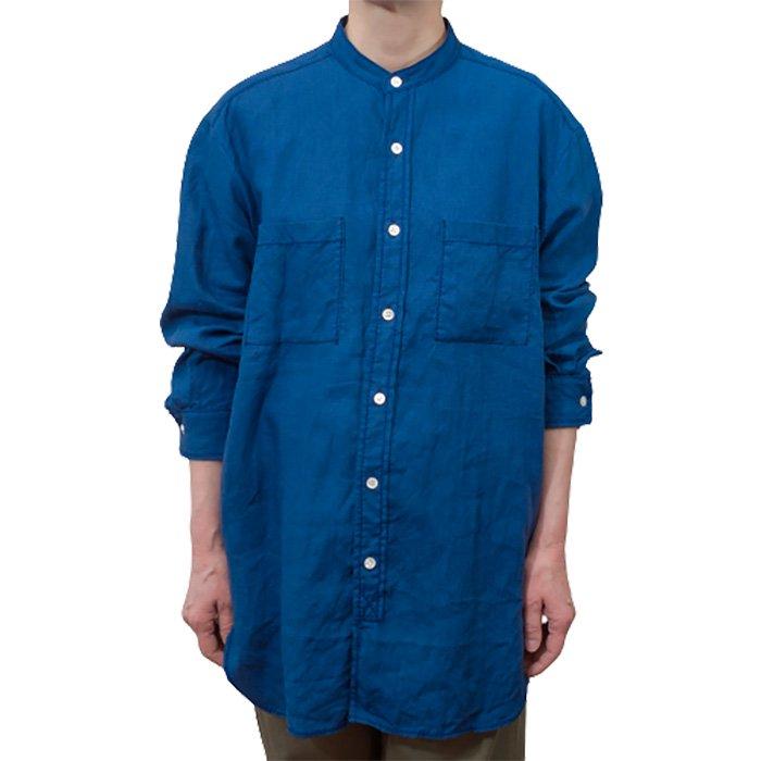 homspun NEWリネンバイオスタンドカラーシャツ #ブルー