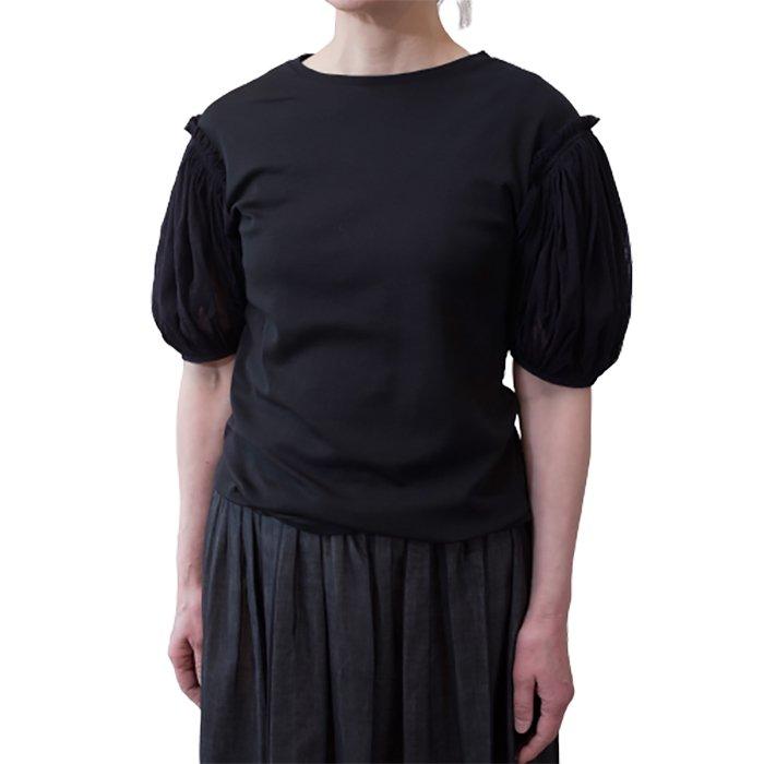 アンティパスト メッシュパフスリーブコットン天竺Tシャツ #ブラック