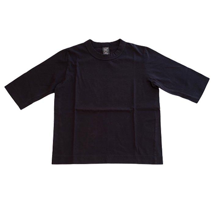 Homspun 天竺6分袖Tシャツ #ブラック