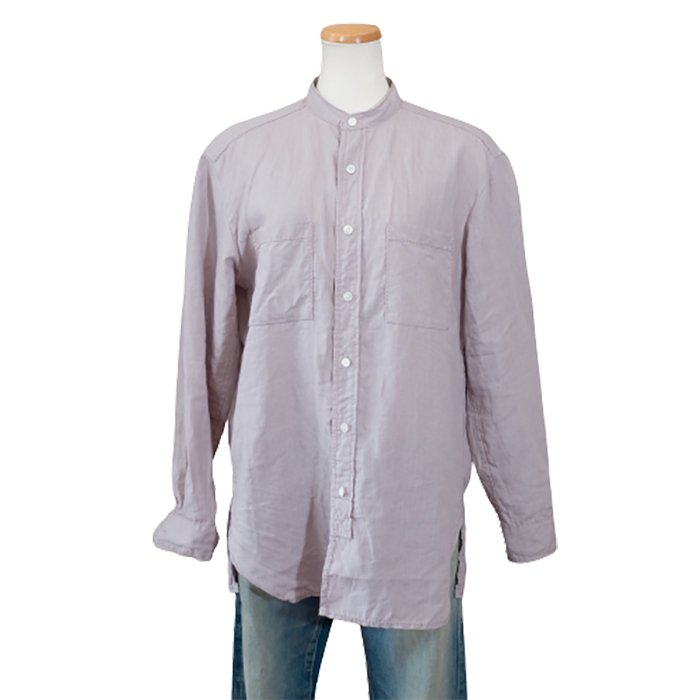 homspun NEWリネンバイオスタンドカラーシャツ #ライトパープル