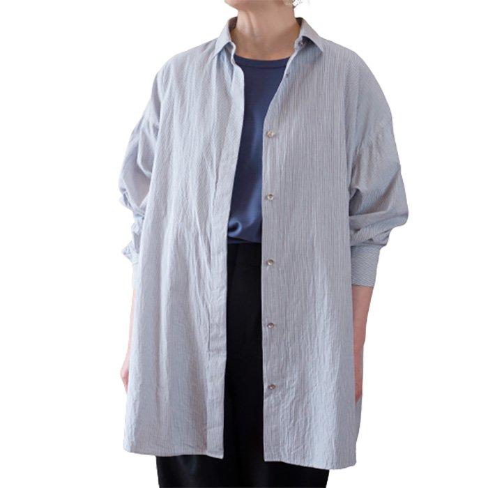 SIWALY | シワリー ストライプバックライニングシャツ(521201) #425 / stripenavy