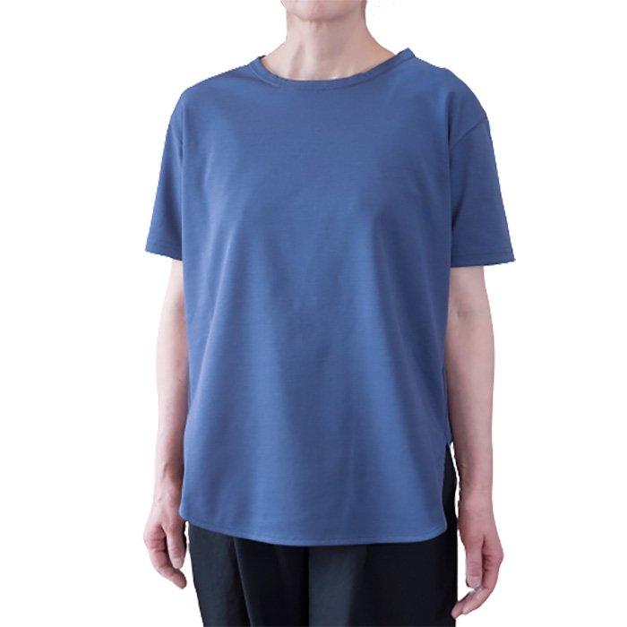 SIWALY シワリー  ラウンドヘム半袖プルオーバー #ブルー
