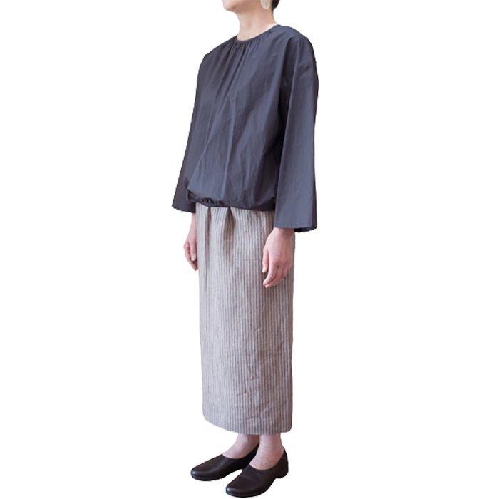 NICO. SHINE リネンタイトスカート #ベージュストライプ