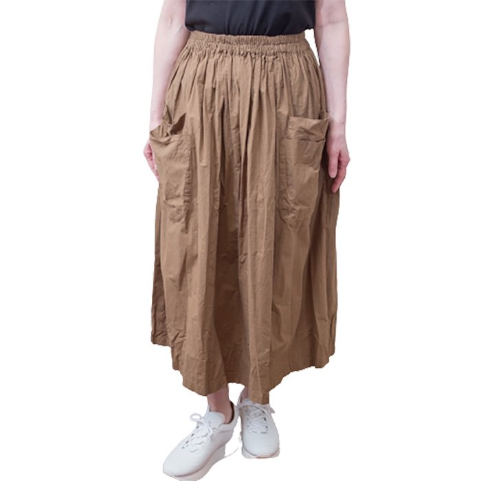 Homspun バルキーシーチング ダブルポケットギャザースカート#オリーブ