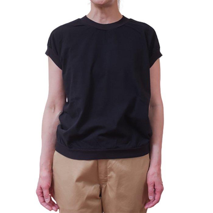 homspun 天竺キャップスリーブTシャツ #ブラック