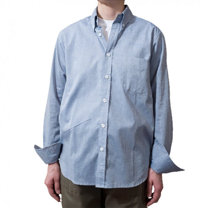 James Mortimer [ジェームスモルティマー]ロングスリーブBDシャツ#シャンブレーブルー