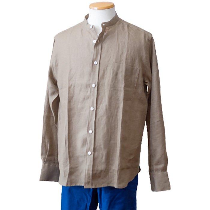 James Mortimer [ジェームスモルティマー]アイリッシュリネンバンドカラーシャツ#Khaki