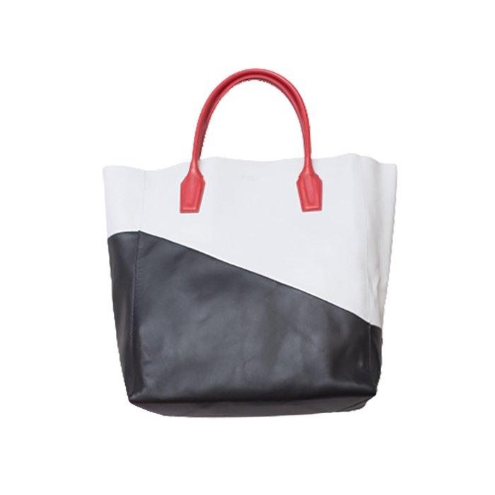 PLUMA V. (プルマ サンク) バイカラートートバッグ /BY2 (S)スラッシュWHITE-BLACK-RED