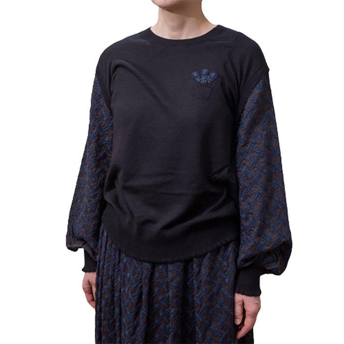 Antipast(アンティパスト)刺繍袖ニットプルオーバー #NAVY*BLACK