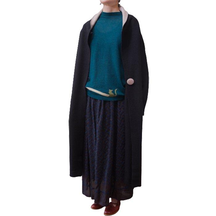 アンティパスト Felt Finish Knit Coat #ブラック/ベージュ