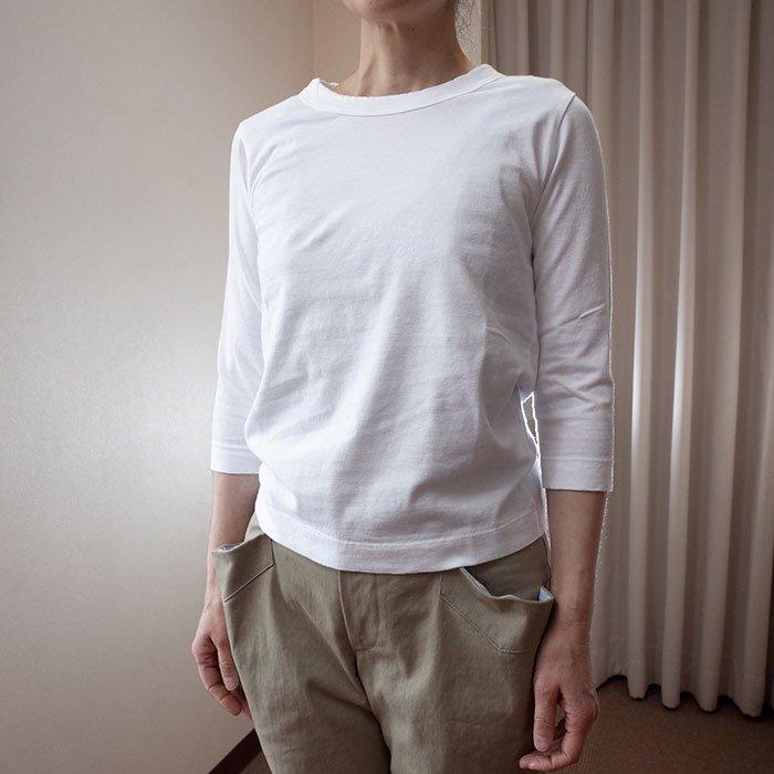 Homspun 天竺七分袖Tシャツサラシ(ホワイト)