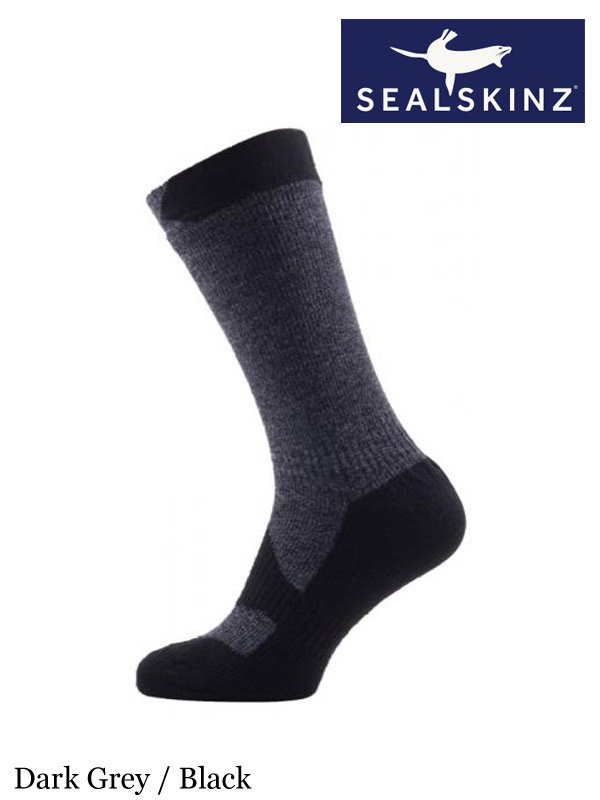 Sealskinz Hiking Mid Mid Socks Black // Grey // L