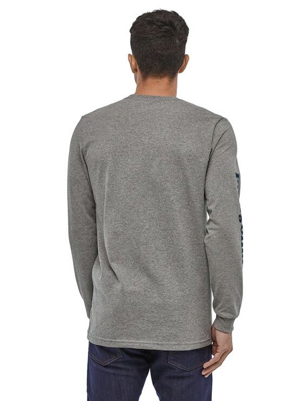 Men's Long Sleeved Text Logo Cotton Poly Responsibili Tee #GLH [39042]