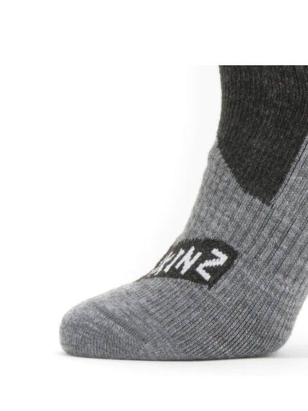 SEALSKINZ|All Weather Mid Length Sock #Black/Grey Marl [11100061-0101]