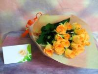 1本150円!お好きな本数で 元気がでる♪オレンジバラの花束